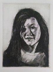 Student: Thuong Tran, Self portrait, Metal Engraving, 4 x 3
